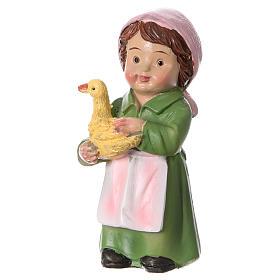 Statuina pastorella con papera per presepi 9 cm linea bambino s2