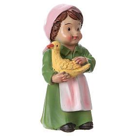 Statuina pastorella con papera per presepi 9 cm linea bambino s3