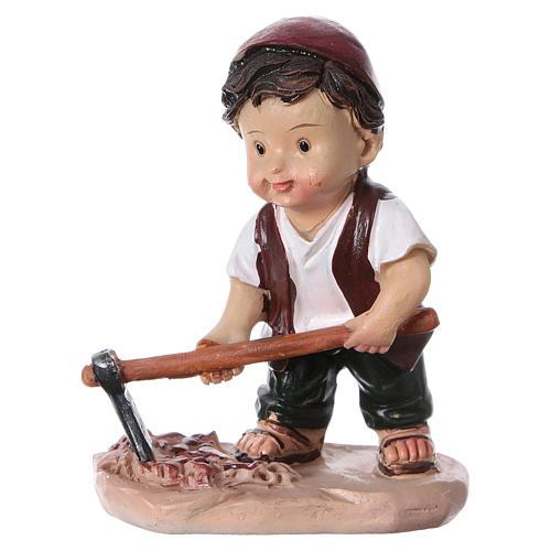 Santon berger avec pioche pour crèche 9 cm gamme enfants 1