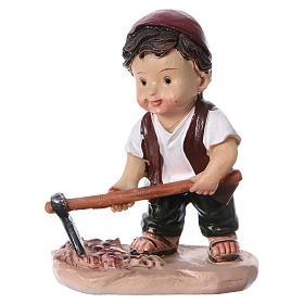Statuina pastore con piccone per presepi linea bambino 9 cm s1