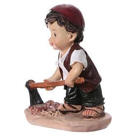 Statuina pastore con piccone per presepi linea bambino 9 cm s2
