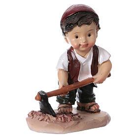 Statuina pastore con piccone per presepi linea bambino 9 cm s3