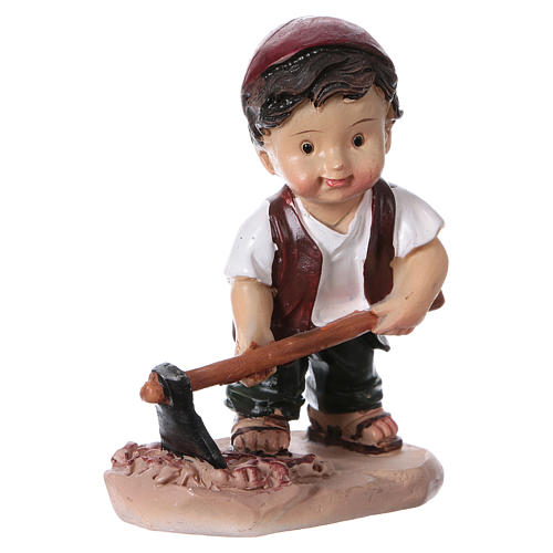 Statuina pastore con piccone per presepi linea bambino 9 cm 3