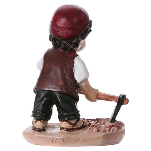 Statuina pastore con piccone per presepi linea bambino 9 cm 4
