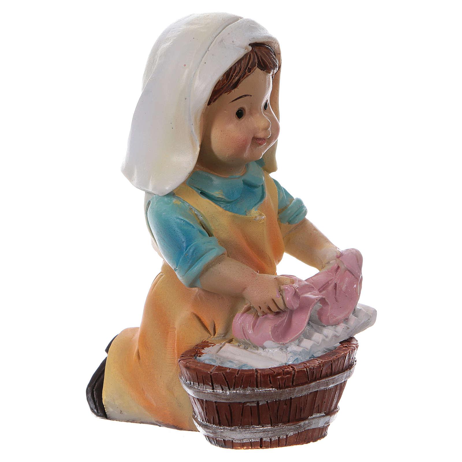 Estatua lavandera para belenes línea niño 9 cm 3