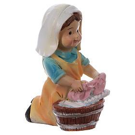 Estatua lavandera para belenes línea niño 9 cm s3