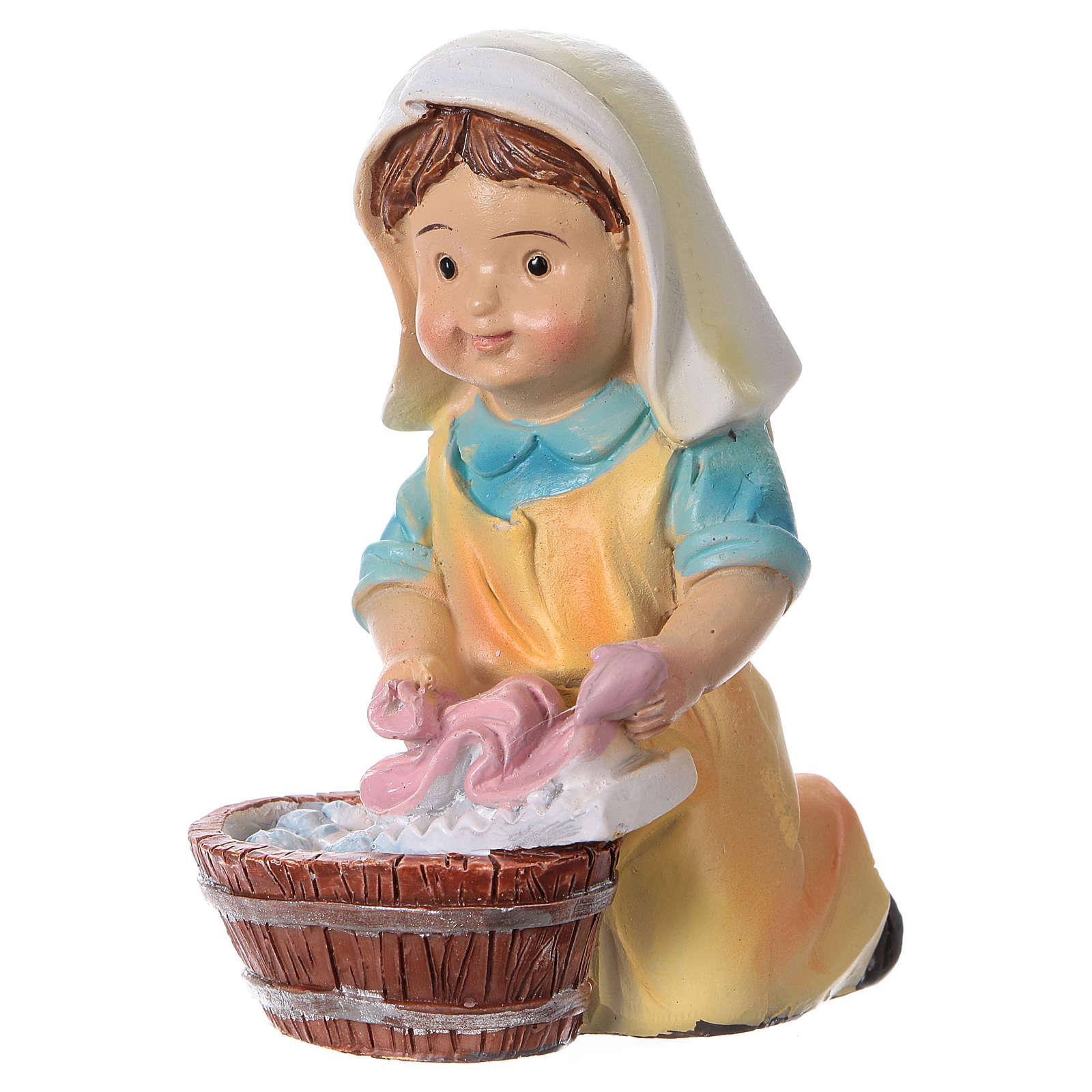 Santon lavandière pour crèche 9 cm gamme enfants 3