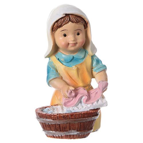 Santon lavandière pour crèche 9 cm gamme enfants 1
