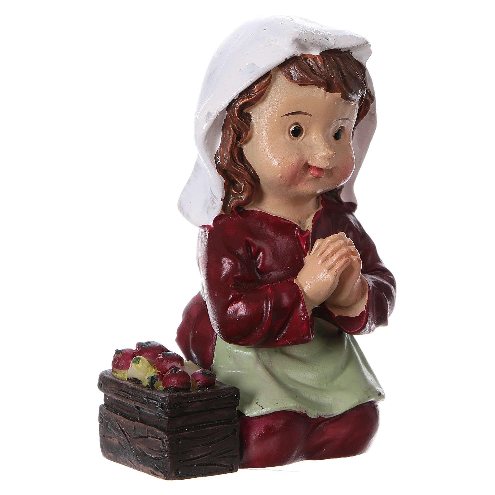 Santon paysanne qui prie pour crèche 9 cm gamme enfants 3