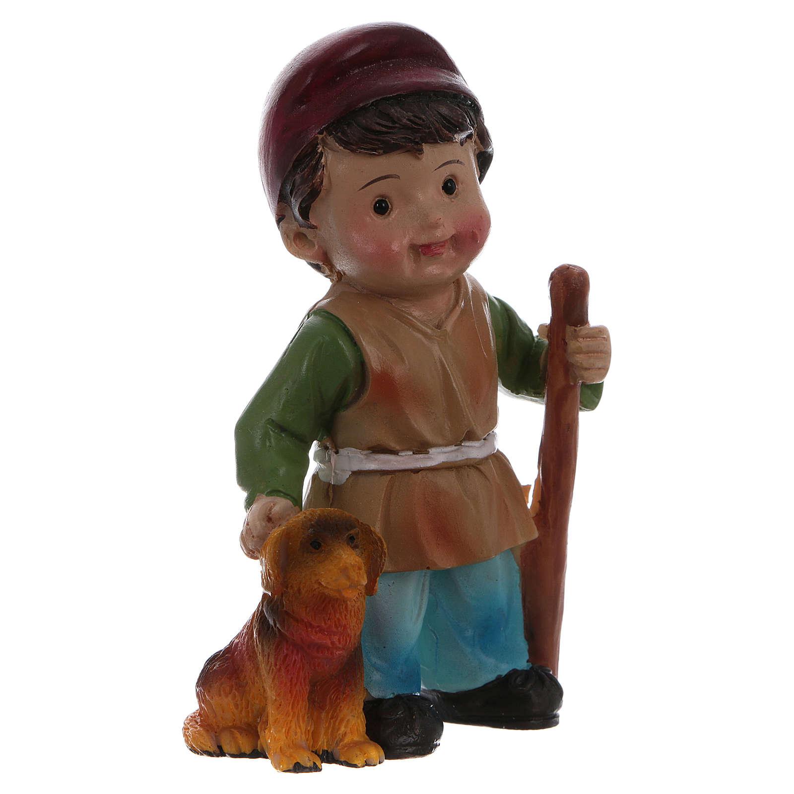 Estatua pastor con perro para belenes línea niño 9 cm 3