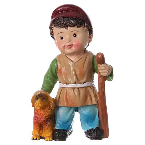 Estatua pastor con perro para belenes línea niño 9 cm 1