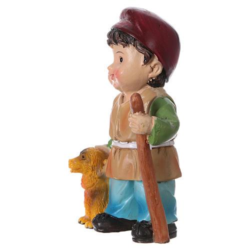 Estatua pastor con perro para belenes línea niño 9 cm 2