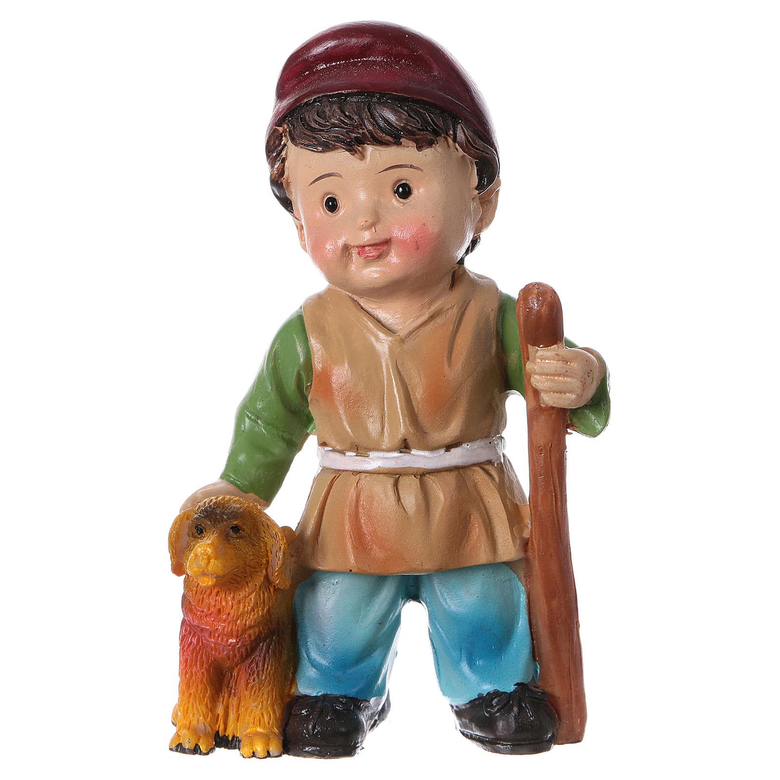 Statuina pastore con cane per presepi linea bambino 9 cm 3