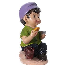 Statuina bimbo che mangia per presepi linea bambino 9 cm s3