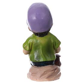 Statuina bimbo che mangia per presepi linea bambino 9 cm s4