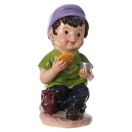 Statuina bimbo che mangia per presepi linea bambino 9 cm 1