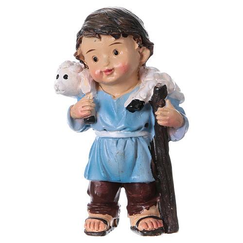 Statuina pastore con pecorella linea bambino presepi 9 cm 1