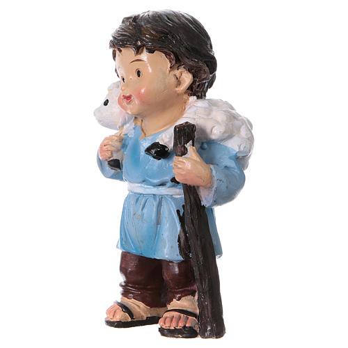 Statuina pastore con pecorella linea bambino presepi 9 cm 2