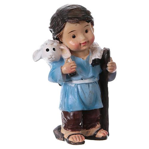 Statuina pastore con pecorella linea bambino presepi 9 cm 3