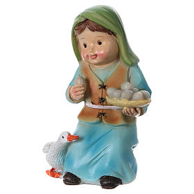 Shepherdess with goose and eggs Nativity Scene 9 cm, children's line s2