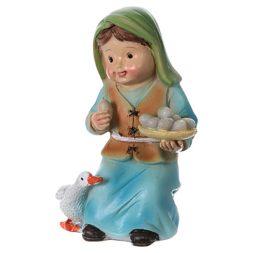 Shepherdess with goose and eggs Nativity Scene 9 cm, children's line 2