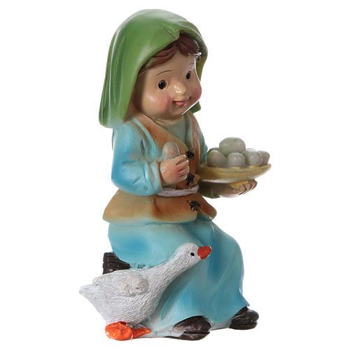 Statuina pastorella con oca e uova presepe linea bambino 9 cm 3