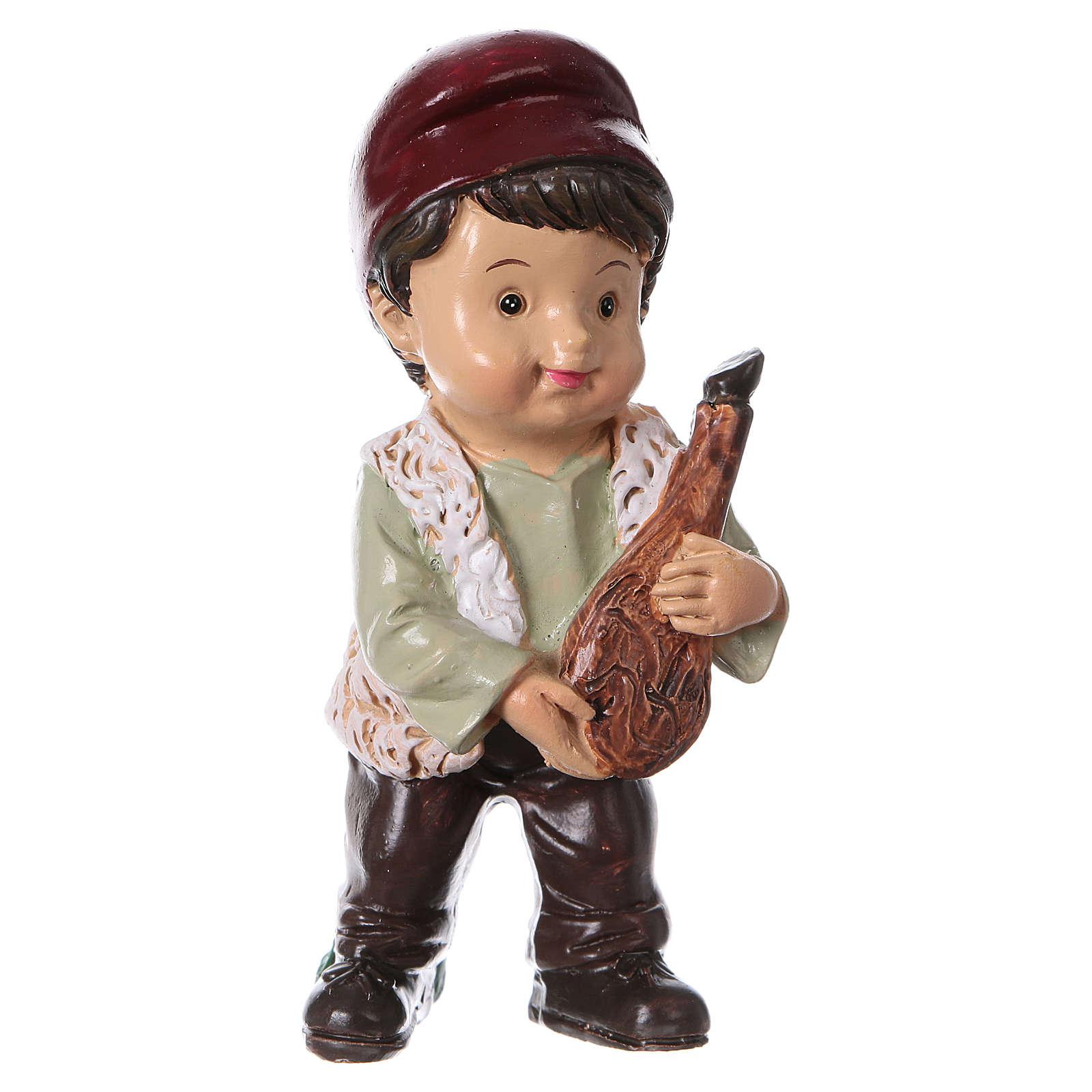 Statuina pastore con prosciutto per presepi linea bambino 9 cm 3