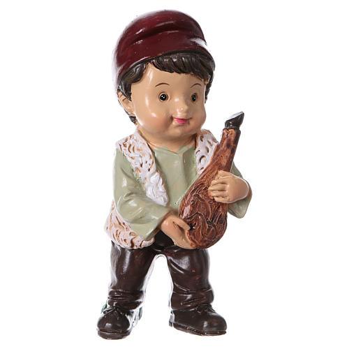 Statuina pastore con prosciutto per presepi linea bambino 9 cm 1