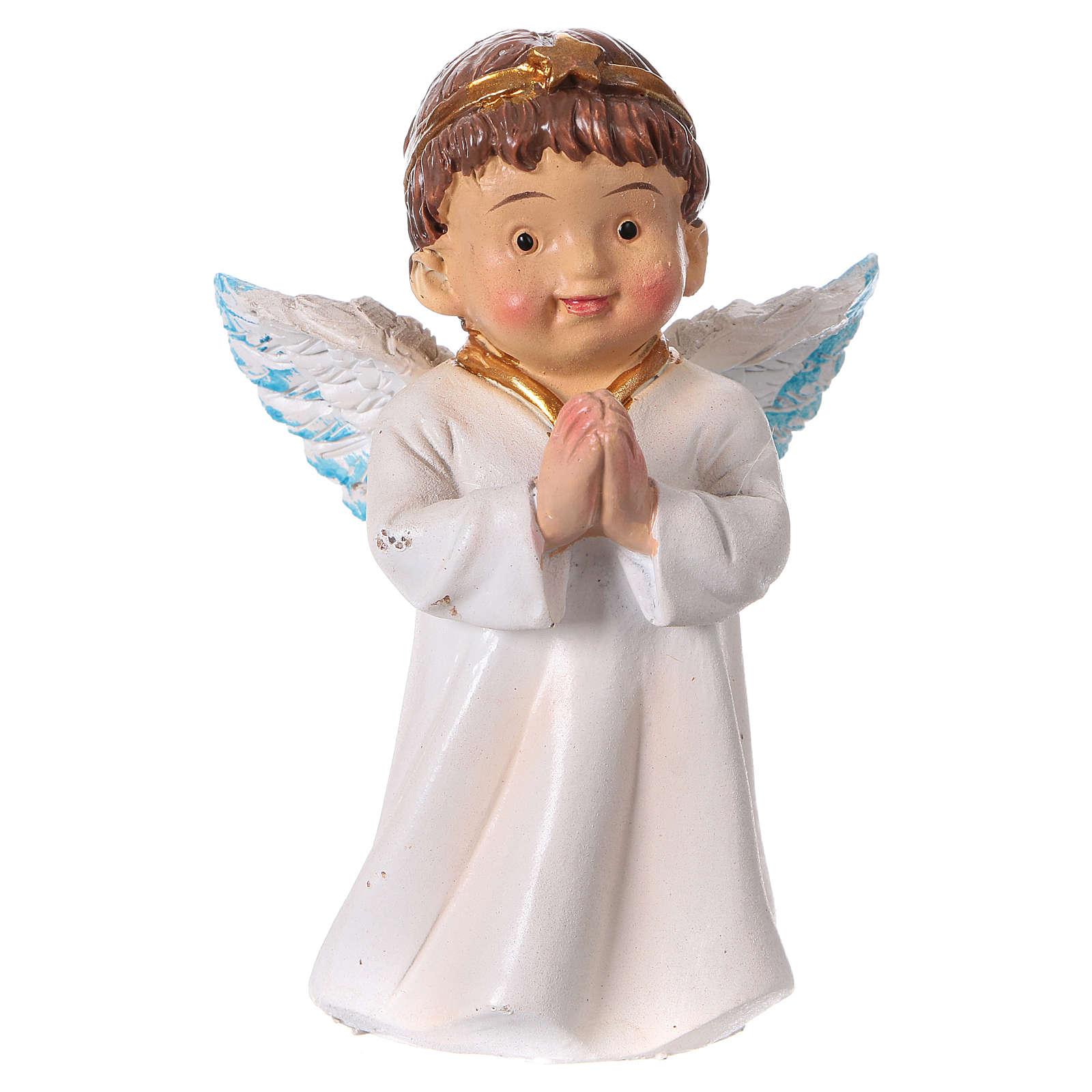 Statuina angelo in preghiera per presepi linea bambino 9 cm 3
