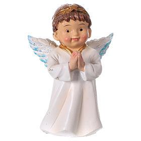 Statuina angelo in preghiera per presepi linea bambino 9 cm s1