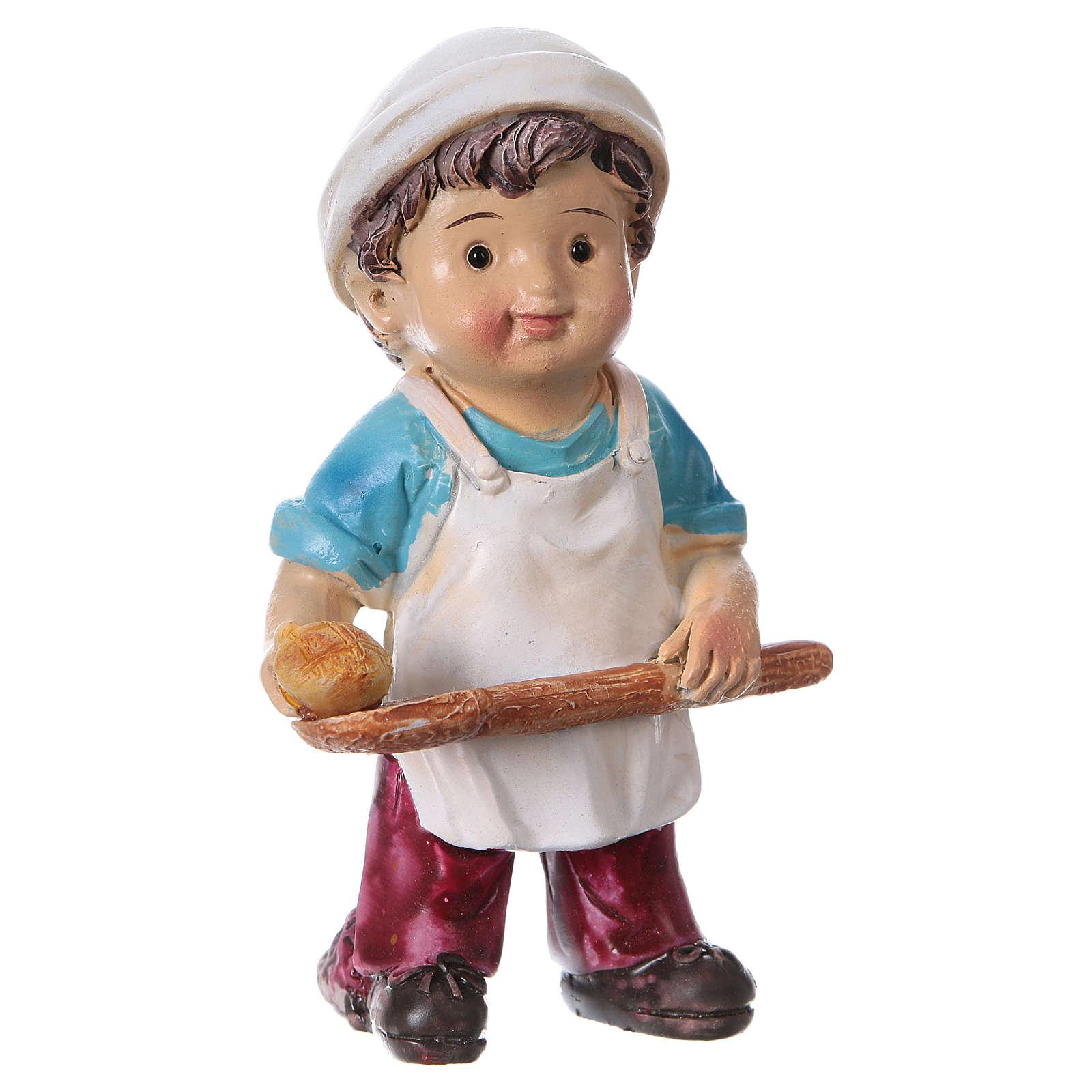 Estatua panadero para belenes línea niño 9 cm 3