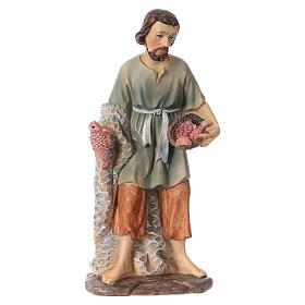 Resin fisherman figurine for Nativity scenes 15 cm children's line s1