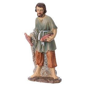 Statua pescatore resina per presepi 15 cm linea bambini s2