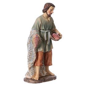 Statua pescatore resina per presepi 15 cm linea bambini s3
