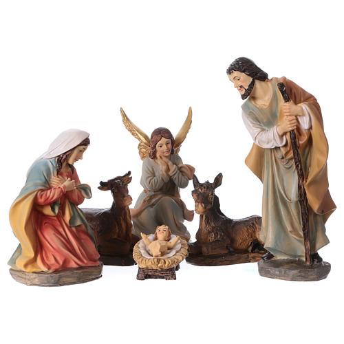 Holy Family in resin 6 pcs for Nativity scene 15 cm children's line 1