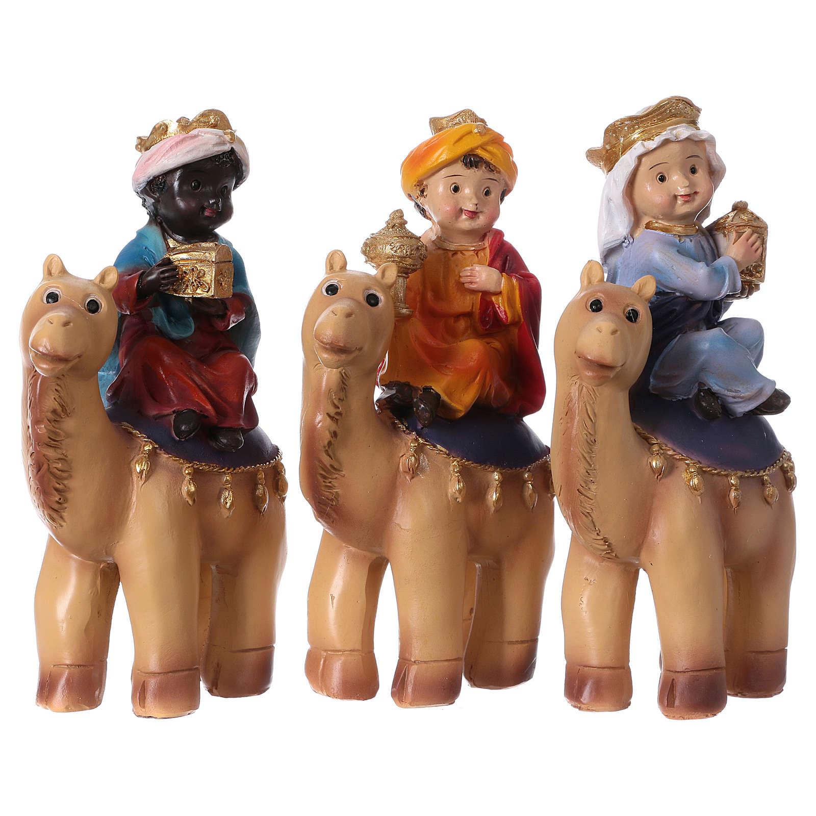 Tres Reyes Magos y camello 15 cm línea niños 3