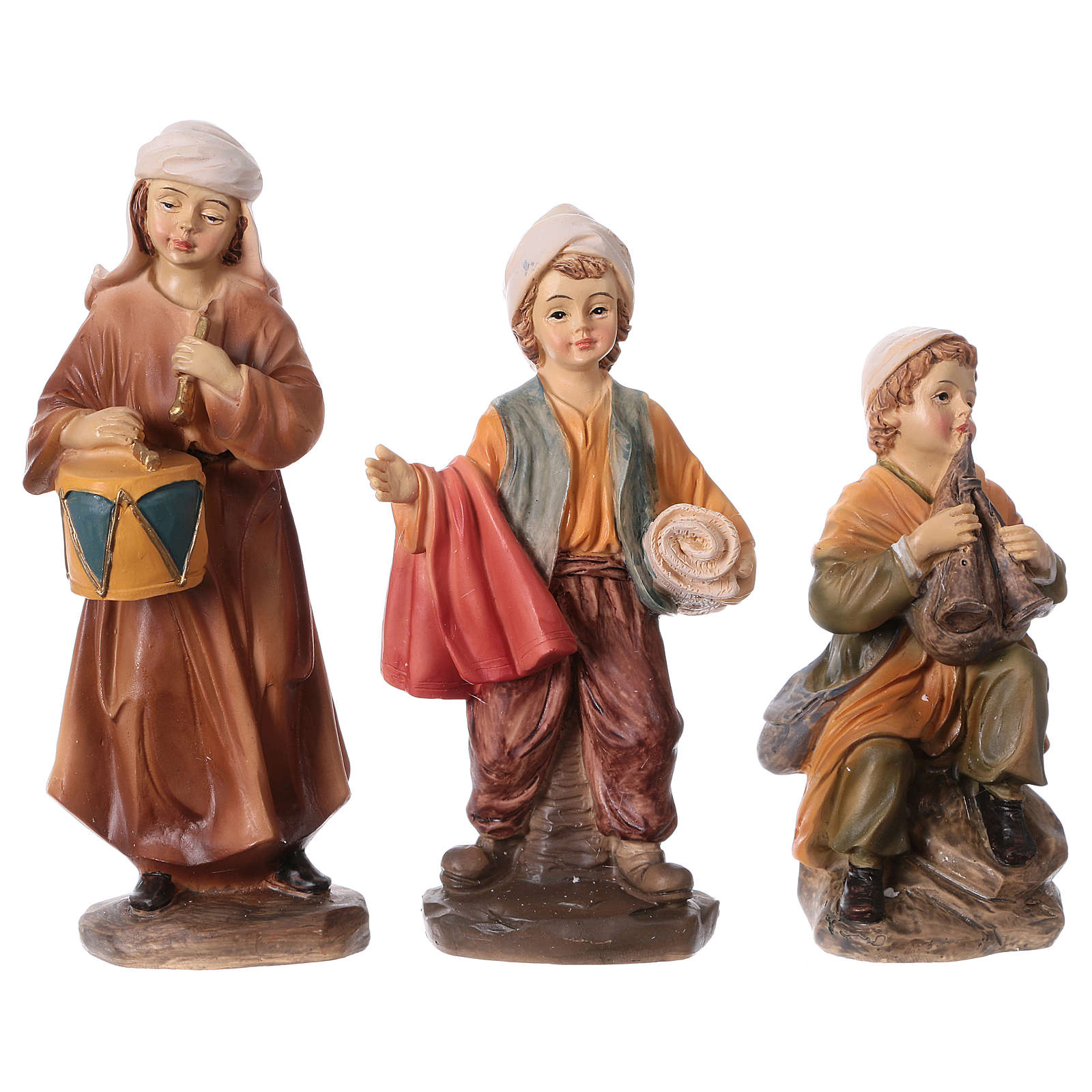 Set 3 bambini in resina presepe 15 cm linea bambini 3