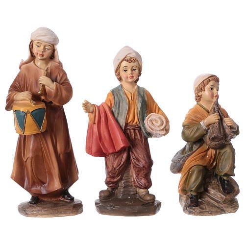 Set 3 bambini in resina presepe 15 cm linea bambini 1