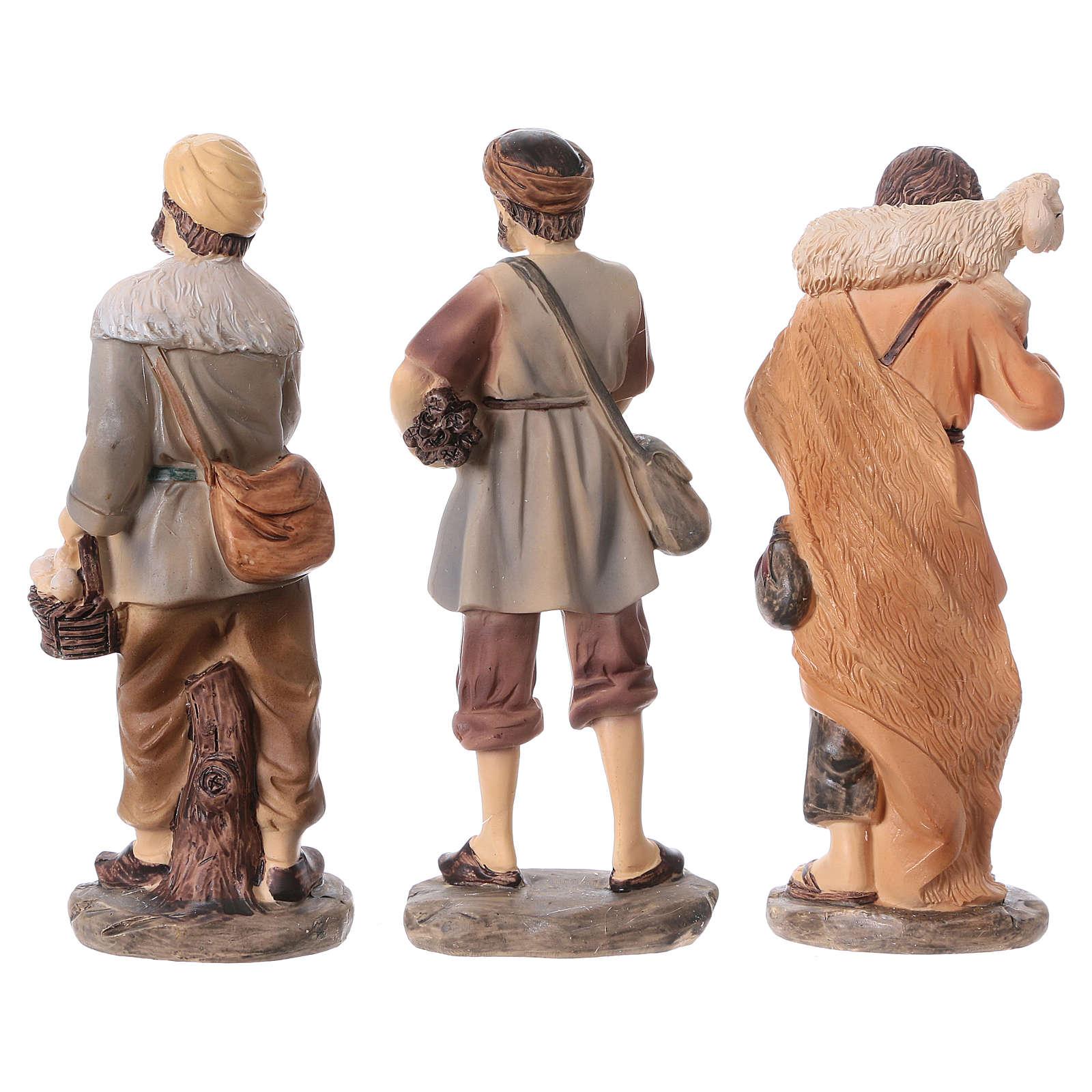 Krippenfiguren 3 Hirten aus Kunstharz, Linie Bambini, Set zu 3 Figuren, für 15 cm Krippe 3