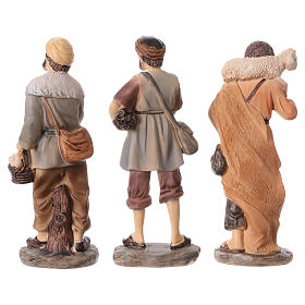 Krippenfiguren 3 Hirten aus Kunstharz, Linie Bambini, Set zu 3 Figuren, für 15 cm Krippe s5