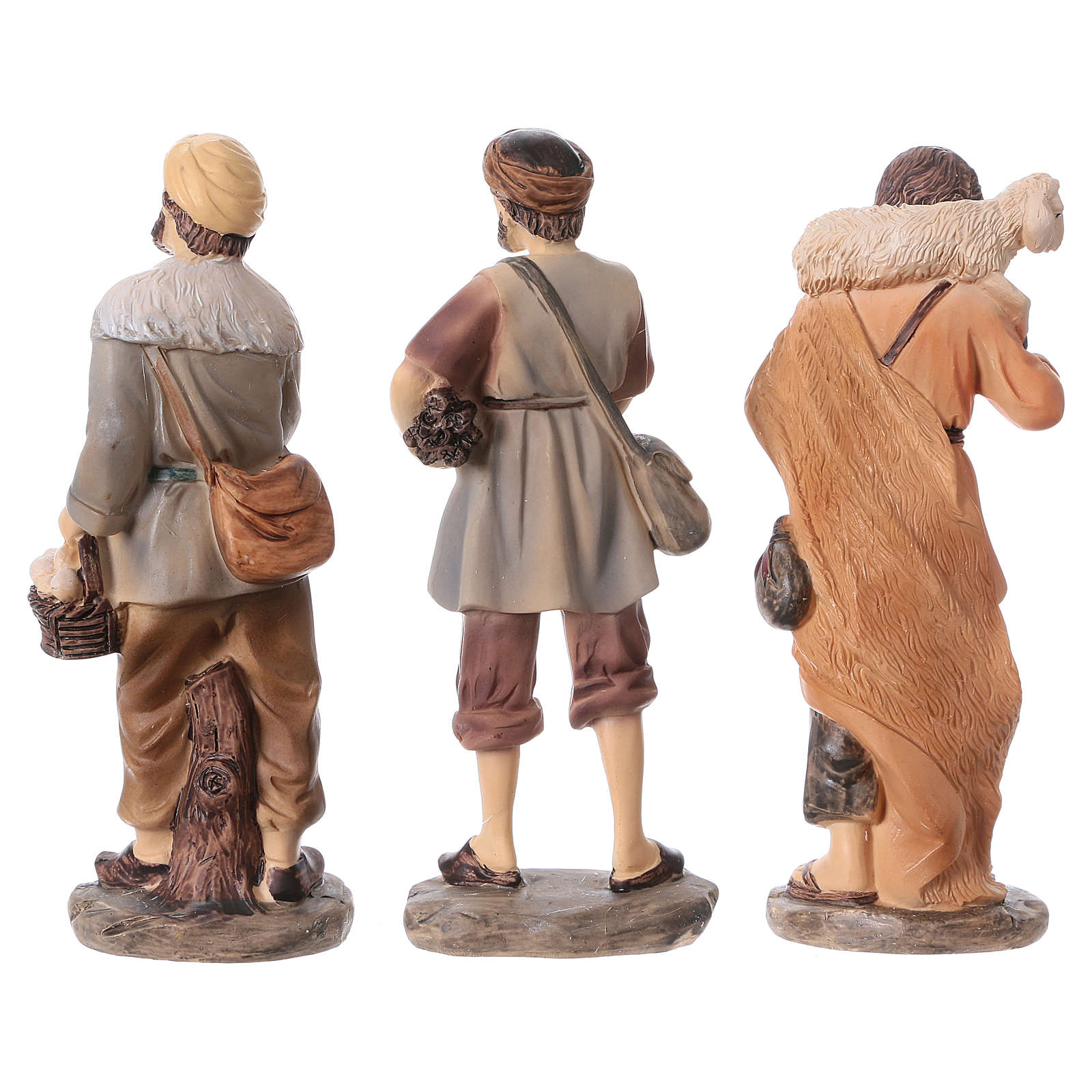Set of 3 shepherds for Nativity scene 15 cm resin 3 pcs children's line 3