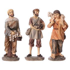 3 shepherds set in resin, for 15 cm kids nativity set s1