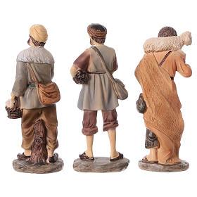 3 shepherds set in resin, for 15 cm kids nativity set s5