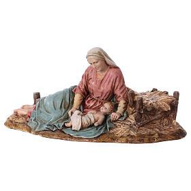 Vierge allongée avec Enfant Jésus Moranduzzo résine 15 cm s3