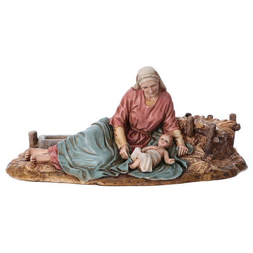 Vierge allongée avec Enfant Jésus Moranduzzo résine 15 cm 1