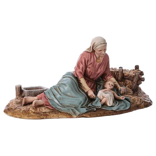 Vierge allongée avec Enfant Jésus Moranduzzo résine 15 cm 2