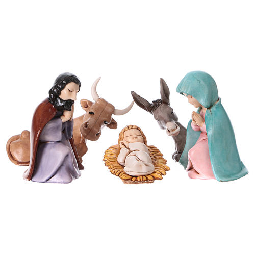 PVC Holy Family for Moranduzzo Nativity scene 7 cm 5 pieces, Children's Line 1