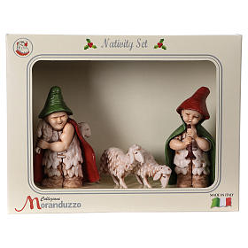 Shepherds with sheep in coloured PVC, Moranduzzo Nativity scene 7 cm, Children's Line s6