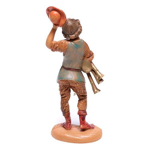 Pastor con sombrero levantado y cornamusa belén Fontanini 10 cm 2