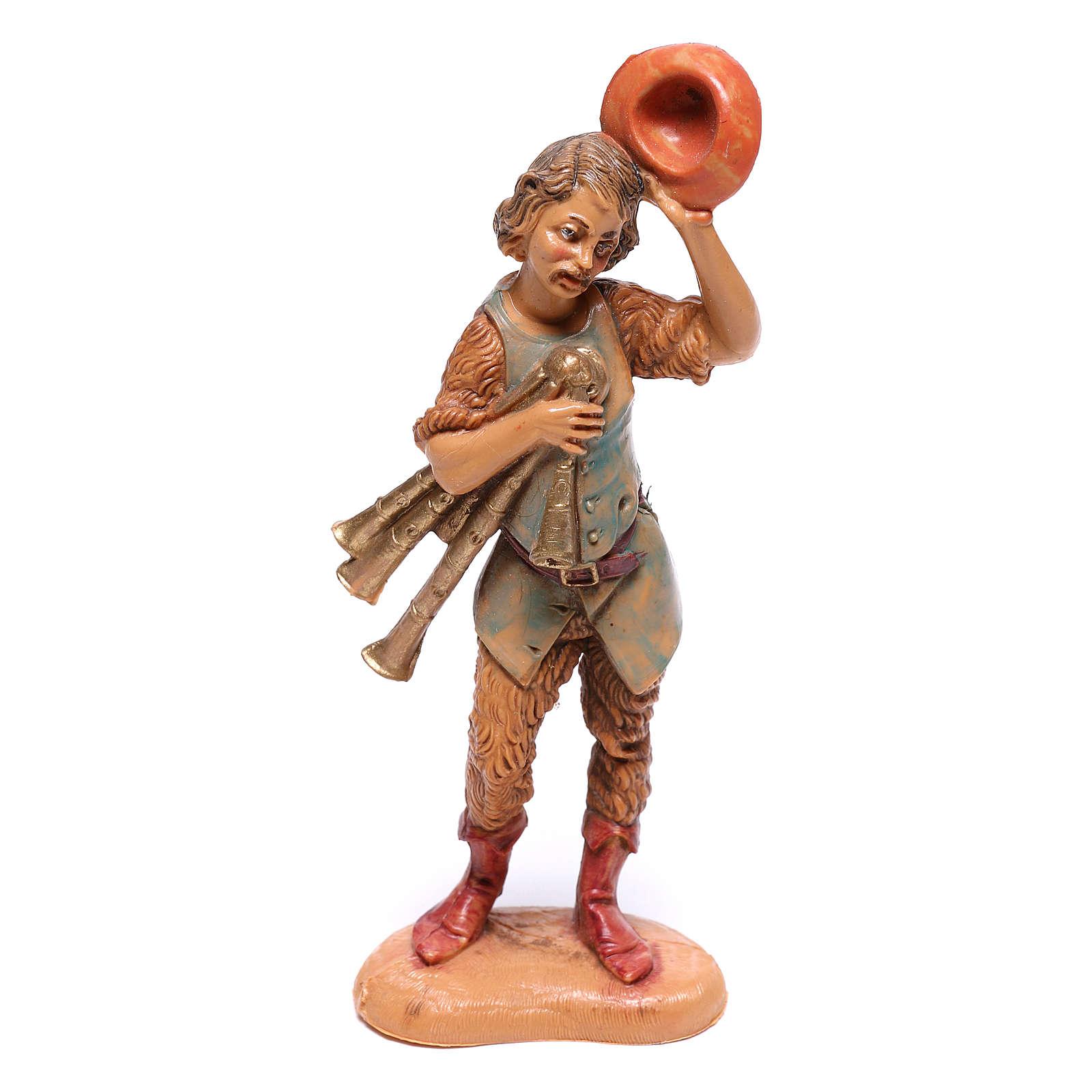 Pastore con cappello sollevato e cornamusa presepe Fontanini 10 cm 4